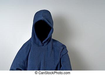 azul, pessoa, faceless, hoodie