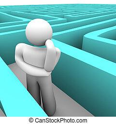 azul, pessoa, pensando, labirinto, saída