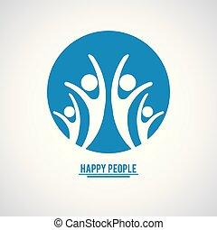 azul, pessoas colorem, dentro, quatro, pictograms, trabalho equipe, feliz