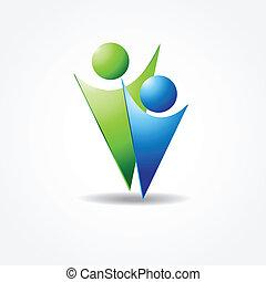 azul, pessoas, dois, cores, vetorial, verde, ícone