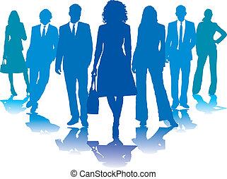 azul, pessoas negócio