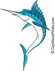 azul, pez, Saltar, caricatura,  Marlin