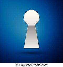 azul, piando, conceito, sucesso, experiência., solution., expresso, isolado, ilustração, prata, security., vetorial, buraco fechadura, tecla, segredo, enigma, segurança, ícone