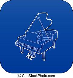 azul, piano, vetorial, grandioso, ícone