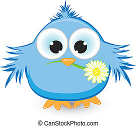 azul, pico, flor, su, gorrión