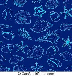 azul, piedras, vector, conchas, patrón, estrellas, mar