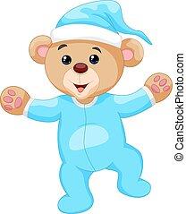 azul, pijama, caricatura, oso, teddy