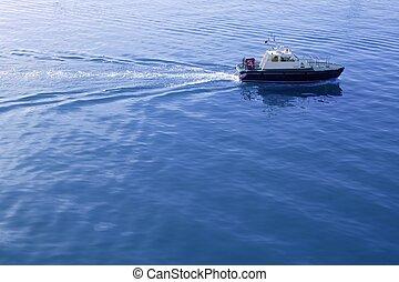 azul, pilotos, mar, bote, mediterrâneo