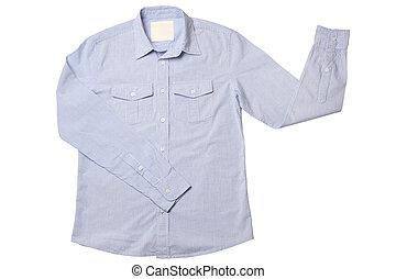 azul, pinstriped, camisa de vestido