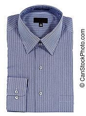 azul, pinstriped, vista-se camisa