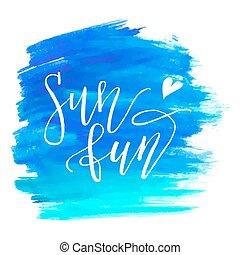azul, pintado, aquarela, experiência., mar, painting.