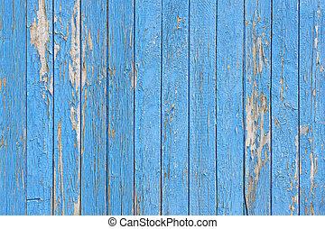 azul, pintado, desfolha, textura, pranchas, madeira, fundo, ou