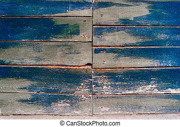azul, pintado, experiência., textura, madeira