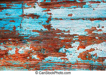 azul, pintado, madeira, antigas, fundo