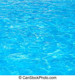 azul, piscina, água ondulada, detalhe