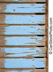 azul, piso, de madera, arena, viejo, playa