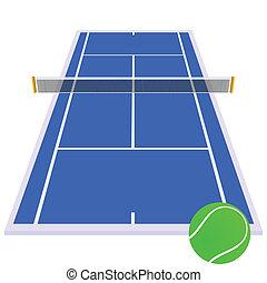 azul, pista de tenis