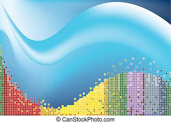 azul, pixel, onda
