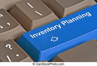 azul, planificación, inventario, llave