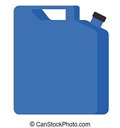 azul, plano, jerrycan, ilustración