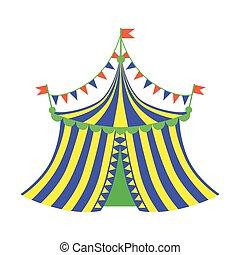 azul, plano, justo, serie, circo, parque, amarillo, tienda, ...