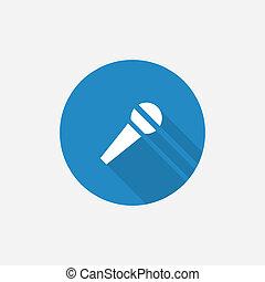 azul, plano, micrófono, simple, largo, sombra, icono