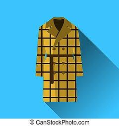 azul, plano, moda, chamarra, aislado, largo, vector, diseño, ilustración, plano de fondo, sombra, ropa, icono