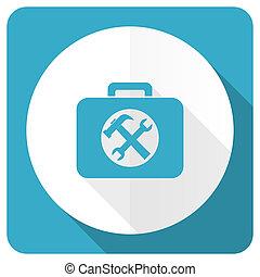 azul, plano, servicio, juego herramientas, señal, icono