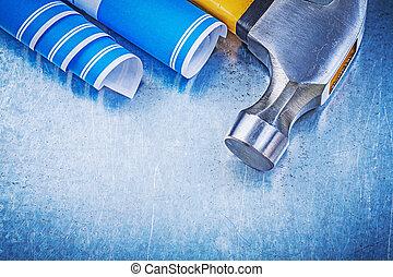 azul, planos, metálico, plano de fondo, martillo de garra