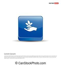azul, planta, botão, -, mão, 3d, ícone