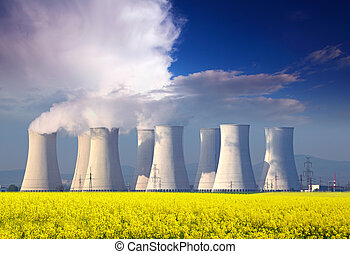 azul, planta, poder, nuclear, amarela, clouds., campo, ...