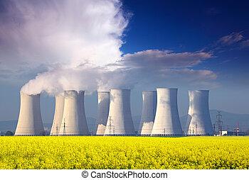 azul, planta, potencia, nuclear, amarillo, clouds., campo, ...