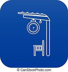 azul, plataforma, estrada ferro, vetorial, ícone