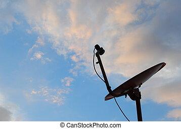 azul, plato, satélite, cielo, plano de fondo