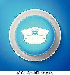 azul, polícia, experiência., sinal., boné, isolado, ilustração, linha., vetorial, círculo, branca, ícone, chapéu, botão, cockade