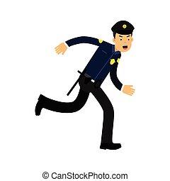 azul, polícia, personagem, ilustração, uniforme, executando...