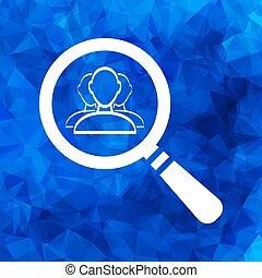 azul, pol, búsqueda, usuario, plano, grupo, gente, icono, triangular