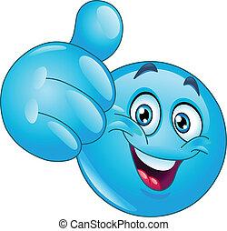 azul, polegar cima, emoticon