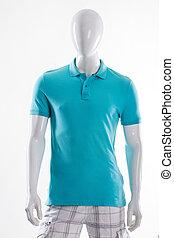 azul, polo, camiseta, en, mannequin.
