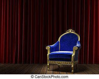azul, poltrona, cortina, vermelho, clássicas