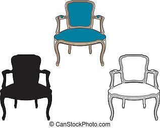 azul, poltrona, estilo