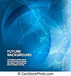 azul, polygonal, espaço, ciência, abstratos, pontos, poly, escuro, experiência., conexão, vetorial, conectando, baixo, fundo, lines., structure.