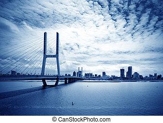 azul, ponte, céu, sob