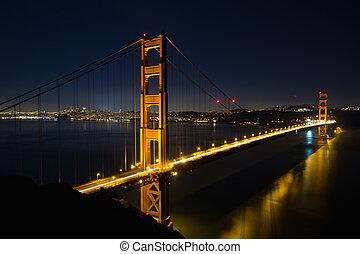 azul, ponte, francisco, san, hora, portão dourado