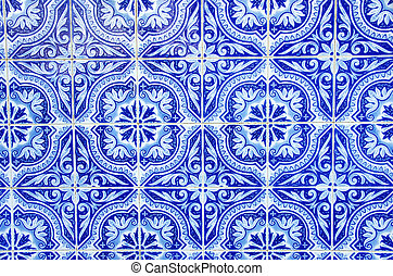 azul, portugués, azulejos, primer plano