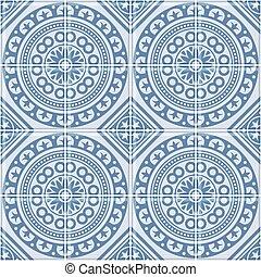 azul, portugués, pattern., seamless, vector, azulejo, ...