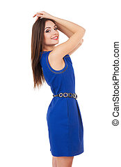azul, posición, qué, mujer, brazos, ella, Vestido, grande, aislado, joven, mientras, atractivo, tenencia, blanco, cabeza, sonriente,  day!