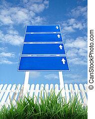 azul, poste indicador, cielo