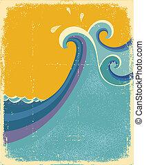 azul, poster., vindima, símbolo, mar, ondas