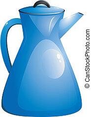 azul, pot., café, vector